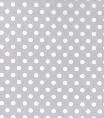 Nursery Cotton Fabric -White Dot On Grey