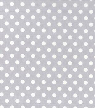 Nursery Cotton Fabric -White Dot On Grey