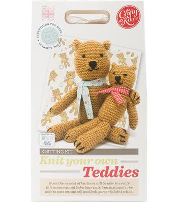 The Crafty Kit Co. Knitting Kit-Teddies
