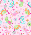 Snuggle Flannel Fabric 43\u0022-Dino Family Tossed Pink