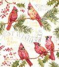 Christmas Cotton Fabric 43\u0022-Cardnial With Christmas Words