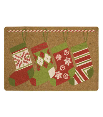 Christmas Holiday Added Touch Mat-Hanging Stockings