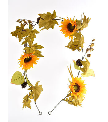 Blooming Autumn Sunflower, Leaves & Pinecone Garland-Yellow