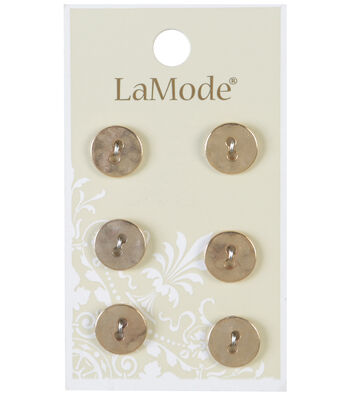 LaMode 2 Hole Gold Metal Buttons 11mm