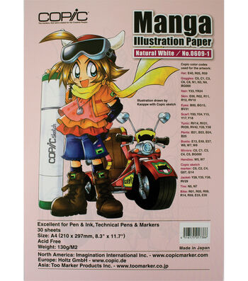 """Copic Manga Illustration Paper A4 8.3""""X11.7"""" 30 Pack-Natural White"""