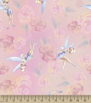 Disney Fairies Tinkerbell Print Fabric-Tinkerbell with Roses