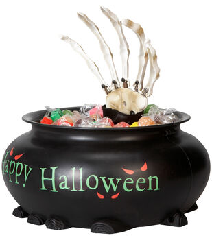 Maker's Halloween Animated Candy Bowl with Skeleton Hand-Happy Halloween