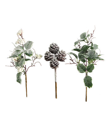 Blooming Holiday Christmas 3 pk 7'' Holly Leaves with Berries Picks