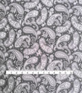 Stretch Crepe Knit Fabric 58\u0022-Black Tonal Paisley