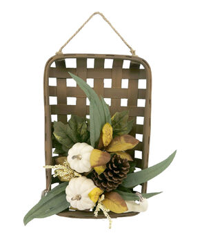 Blooming Autumn Basket Wall Decor with Pumpkins & Berries-Cream