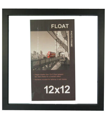 Wood Float Photo Frame 12''x12''-Black