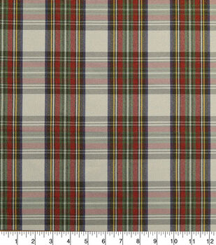 Sew Sweet Taffeta Fabric-Traditional Christmas Plaid With Flocking