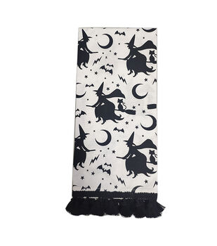 Maker's Halloween Decor 16''x26'' Towel with Trim-Witches on Linen