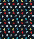 Snuggle Flannel Fabric 42\u0027\u0027-Colorful Paws on Black