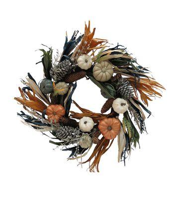 Blooming Autumn 24'' Pumpkin & Pinecone Wreath-Multi Color Chalk