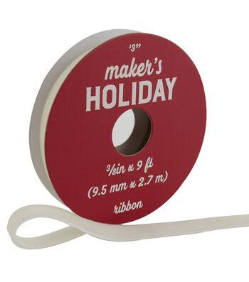Maker's Holiday Traditional Holiday Velvet Ribbon 3/8''x9'-Ivory