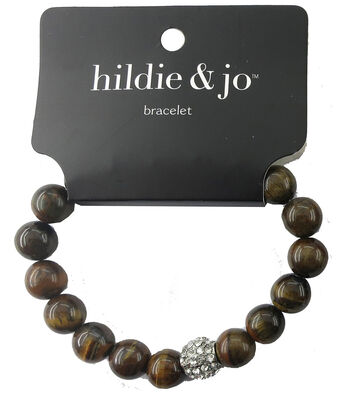 hildie & jo Stone Beads Stretch Bracelet-Black/Brown with Crystal
