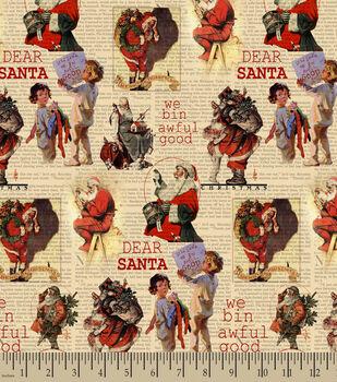 "Saturday Evening Post Dear Santa ""We Bin Awful Good"" Print Fabric"