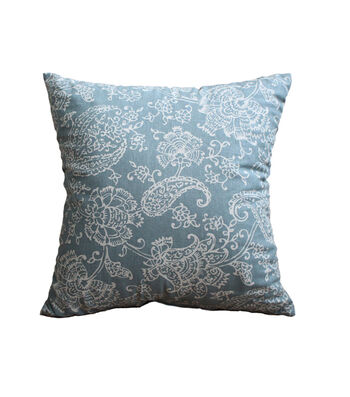 Hudson 43 Farm 18''x18'' Print Pillow-Paisley on Blue