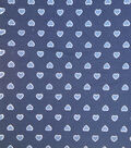 Doodles Juvenile Apparel Knit Fabric -Foil Hearts on Navy