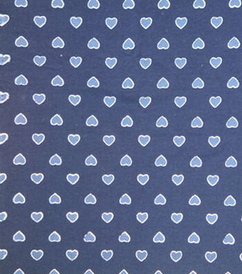 Doodles Juvenile Apparel Knit Fabric 57''-Foil Hearts on Navy
