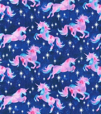 """Novelty Cotton Fabric 44""""-Unicorn Tie Die Glitter"""