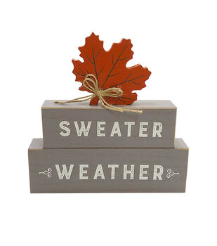 Simply Autumn Stacked Figural Leaf Word Block-Sweater Weather