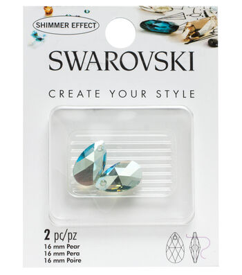 Swarovski Create Your Style 2 pk 16mm Pear Pendants-Erinite Shimmer