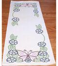 Fairway Needlecraft Stamped Perle Edge Dresser Scarf-Large Butterfly