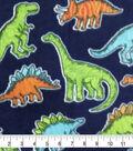 Anti-Pill Plush Fleece Fabric-Bright Dinos
