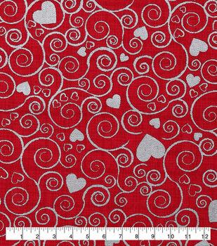 Valentine's Day Cotton Fabric-Metallic Hearts & Scrolls on Red