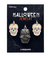 hildie & jo Halloween 3 Pack 3D Sugar Skull Pendants, , hi-res