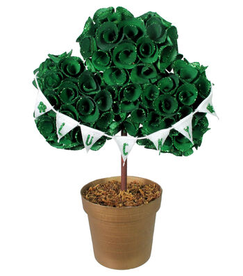 St. Patrick's Day Decor Shamrock Topiary in Pot-Green Lucky