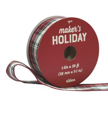 Maker's Holiday Ribbon 1.5''x30'-Burgundy, Ivory & Yellow Plaid