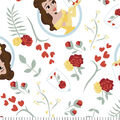 Disney Beauty & the Beast Flannel Fabric-Belle with Roses
