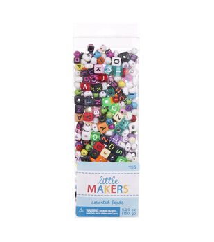 Little Makers 5.29 oz. Assorted Beads-Alphabet on Multi