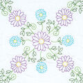 Jack Dempsey 6 pk Stamped Quilt Blocks for Embroidery-Daisies