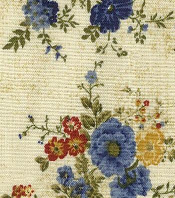 Premium Wide Cotton Fabric-Vine & Floral Bouquet
