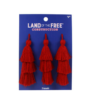 Land of the Free Tassels 3/Pkg-Red