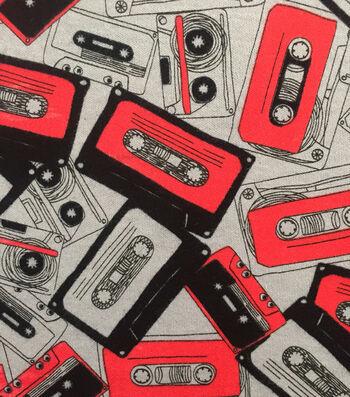 Doodles Juvenile Apparel Fabric -Cassette Tape