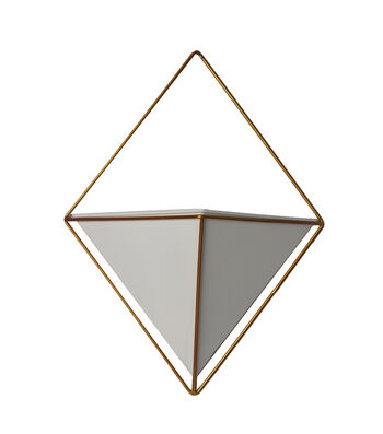 Bloom Room Metal Triangle Hanging Container-Gold & White