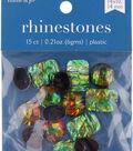hildie & jo 15 pk Assorted Plastic Flat Back Rhinestones-Green & Orange