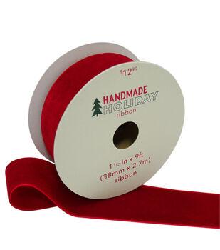Handmade Holiday Christmas Velvet Ribbon 1.5''x9'-Red