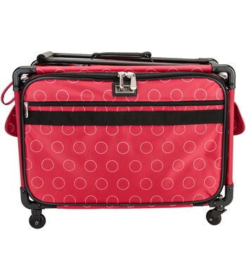 TUTTO Machine on Wheels Case-White Dotted Circles on Red