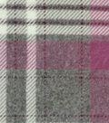 Luxe Fleece Fabric 59\u0022-Gray & Pink Plaid