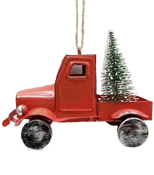Handmade Holiday Christmas Alpine Lodge Truck Ornament-Red