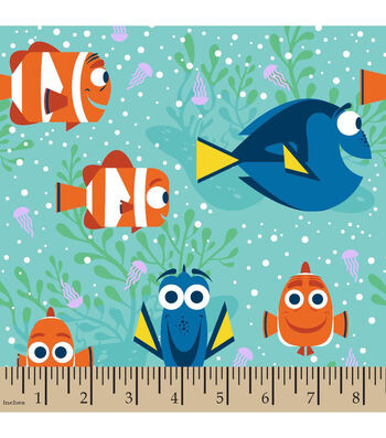 """Disney Finding Dory Cotton Fabric 43""""-All Smiles"""