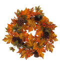 Blooming Autumn Maple Leaves, Pinecone & Berries Wreath