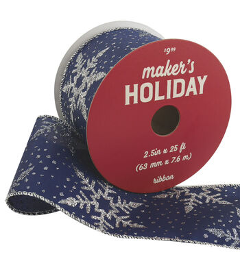Maker's Holiday Ribbon 2.5''x25'-Silver Snowflakes on Navy Blue