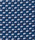 Nursery Flannel Fabric -Navy Dream Big Elephant